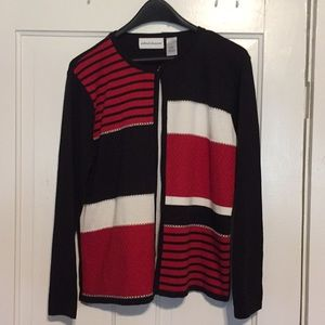 NWOT Alfred Dunner Cardigan w/attached shirt Sz S